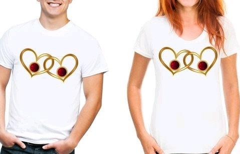 Exquisite Premium Couple T-shirts (Golden Hearts)