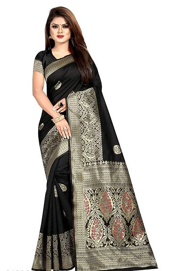 Wondrous Banarasi Art Silk Saree Black Color
