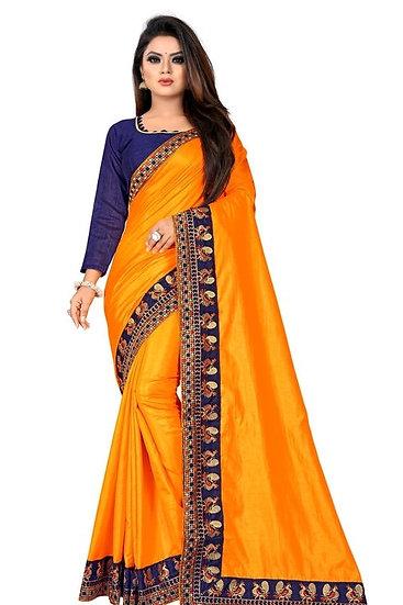 Flamboyant Poly Silk Designer Saree Yellow