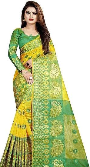 Wondrous Printed Banarasi Silk Saree - Yellow