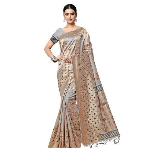 Fascinating Ikkat Weaved Banarasi Saree - Grey