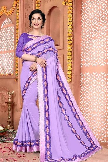 Comely Premium Embroidered Heavy Lace Silk Saree - Purple