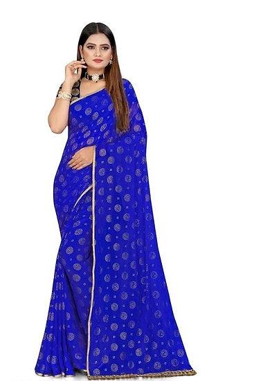 Beauteous Jacquard Nazneen Chiffon Saree - Blue