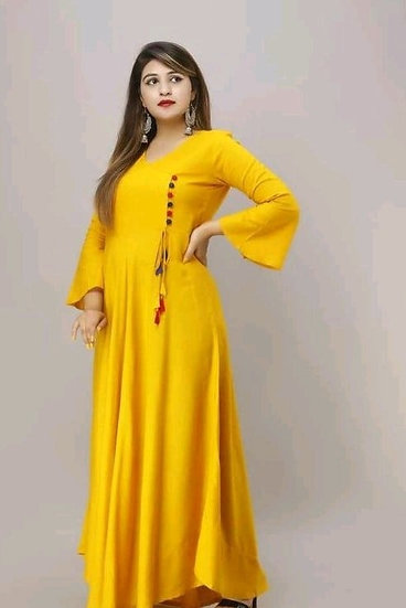 Comely Long Kurti - T Yellow