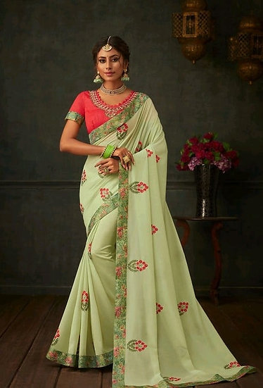 Comely Embroidered & Heavy Work Georgette Saree - Light Green