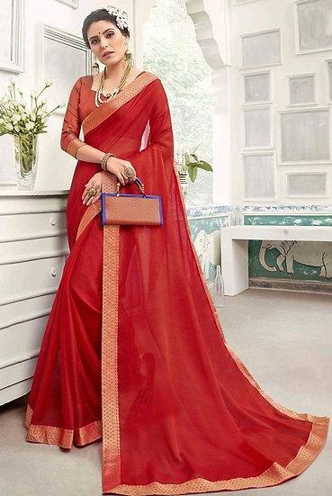 Sumptuous Chanderi Silk Solid Saree - Red