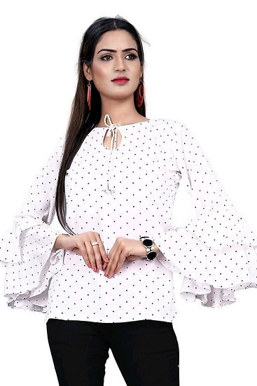 Comely Premium Crepe Printed Top - White