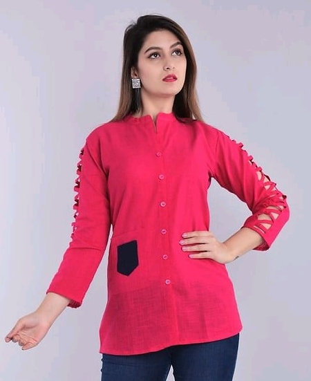 Wondrous Sleeves Cross Cut Cotton Top - Pink