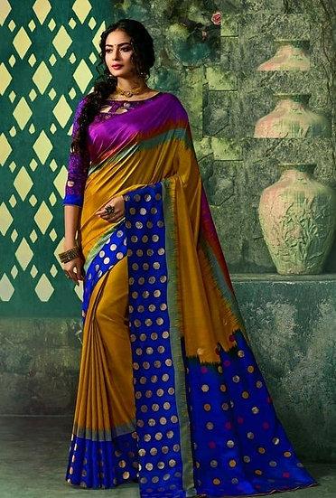 Ravishing Premium Printed Silk Saree - Brown & Purple