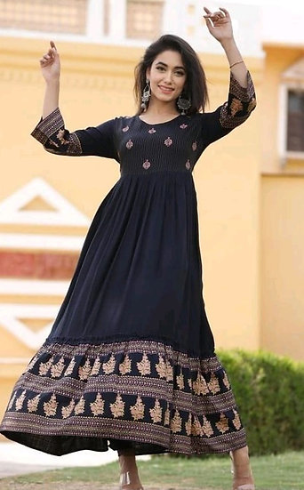 Comely Embroidered Rayon Long Kurti - Dark Blue