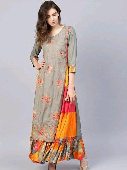 Premium Embroidered Rayon Long Kurti With Skirt