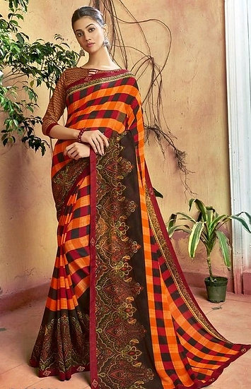 Dazzling Multicolored Print Georgette Saree - Yellow & Orange