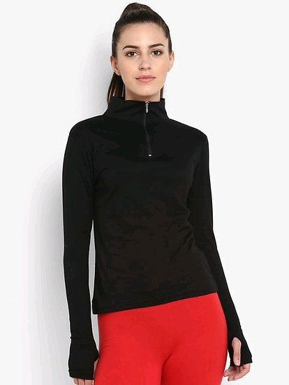 Exquisite Long Arm Solid Sweatshirt / Tshirt With Zip - Black