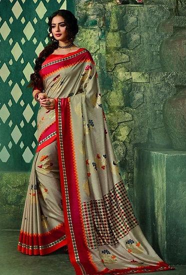 Ravishing Premium Printed Silk Saree - L Green & Red