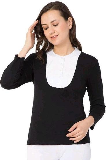 Gracious Jersey T-shirts U-Neck Style - Black