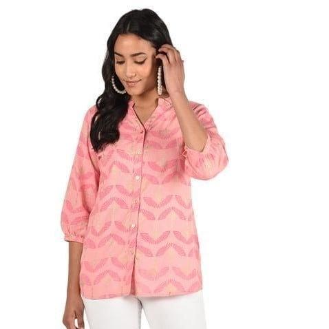 Fascinating Printed Cotton Short Kurti - Light Pink