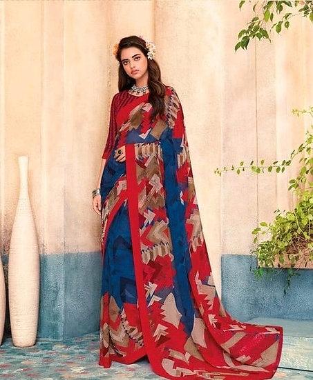 Ravishing Premium Printed Georgette Saree - Blue & Red