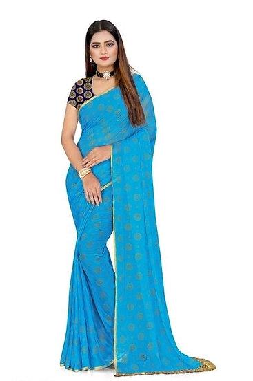 Beauteous Jacquard Chiffon Saree - Bright Sky Blue