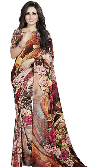 Comely Premium Colorful Print Georgette Saree