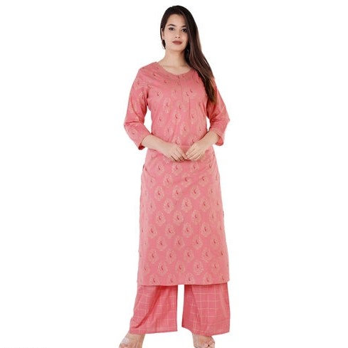 Comely Embroidered Rayon Kurti with Palazzo - D Peach