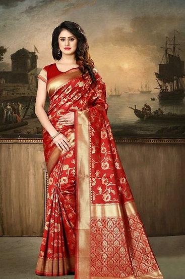 Wondrous Banarasi Silk Printed Saree - Red