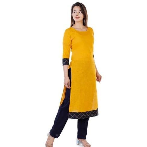 Wondrous Pure Cotton Straight Kurti - Yellow