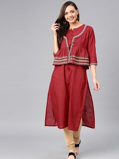 Comely Printed Cotton Kurti With Jacket - Maroon