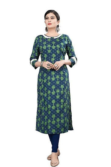 Ethereal Printed Cotton Straight Kurti - Blue Green