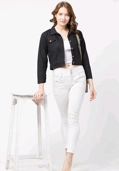 Sumptuous Solid Womens Short Jacket - Black
