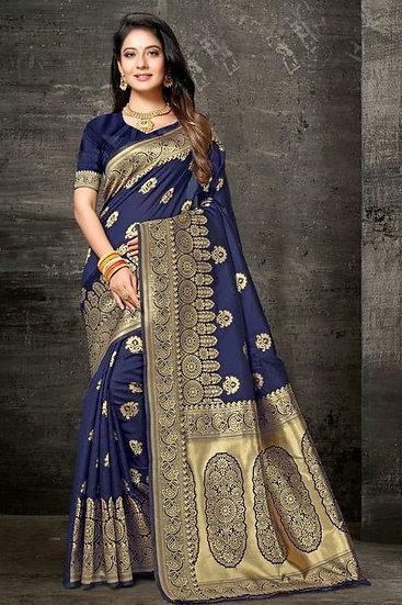 Sumptuous Printed Art Silk Saree - Blue