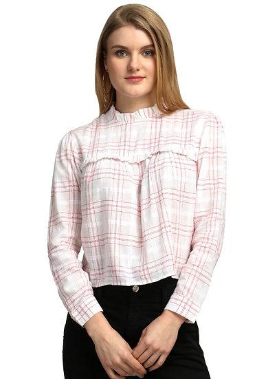 GALAXY TRENDZ Premium Cotton Red Checkered Crop Top - White