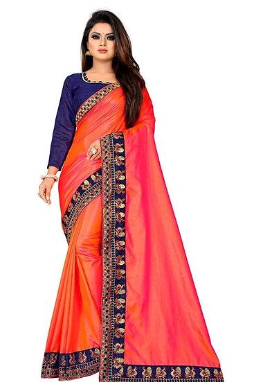 Flamboyant Poly Silk Designer Saree Orange