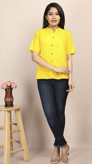 Gracious Designer Women's Cotton Top - Bright Yellow
