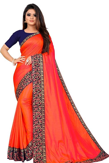 Flamboyant Poly Silk Designer Saree Patt2 Orange