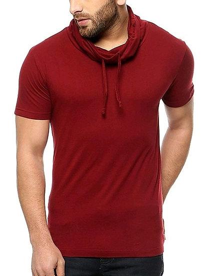 Premium Men's  Hoody Neck T-shirt - Maroon