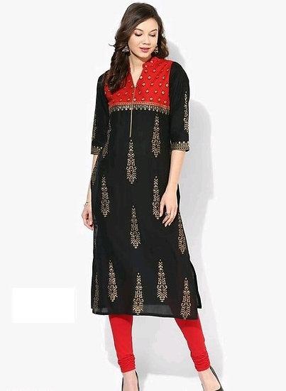 Wondrous Block Printed Cotton Kurti - Black & Red