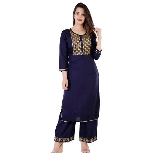 Comely Embroidered Rayon Kurti with Palazzo - Blue