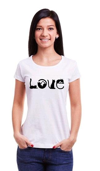Flamboyant Solid Printed Cotton T-shirt - Love