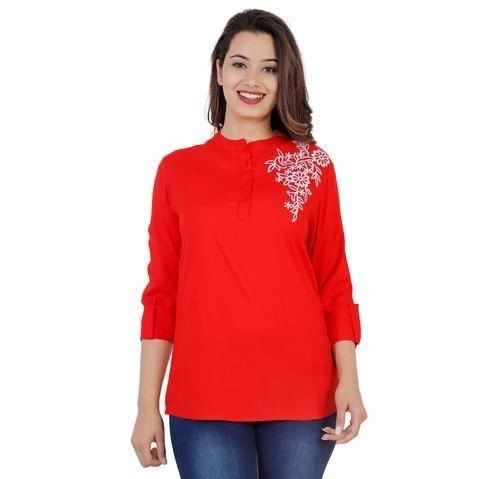 Wondrous Rayon Solid Embroidered Top - Red