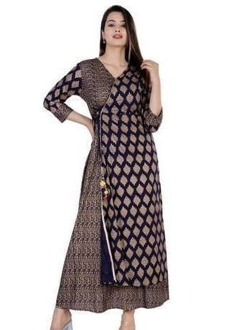 Beauteous Women Angrakha Kurti - Blue