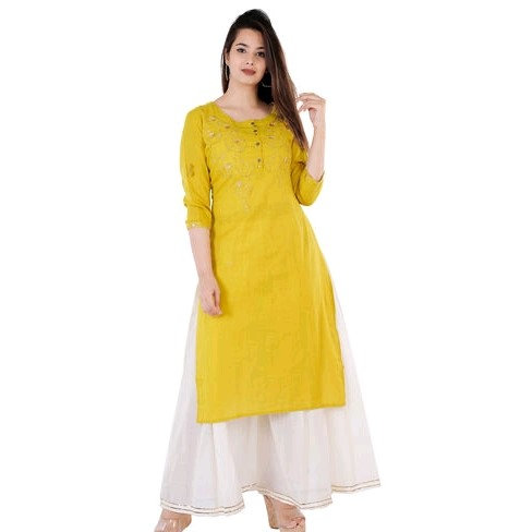 Comely Embroidered Kurti with Palazzo