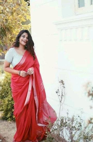 Ravishing Cotton Slub Formal Sarees - Red