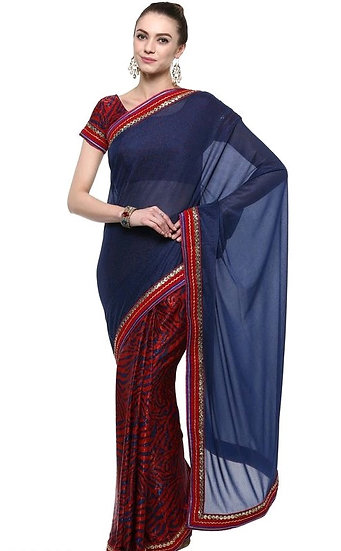 Flamboyant Embroidered Georgette Saree - Blue