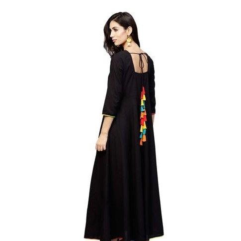 Gracious Anarkali Kurti With Tassels - Black