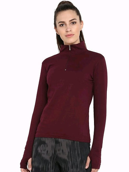 Exquisite Long Arm Solid Sweatshirt / Tshirt With Zip - Maroon