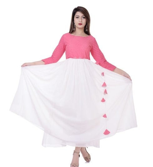 Ethereal Solid Cotton Long Kurti - Pink & White