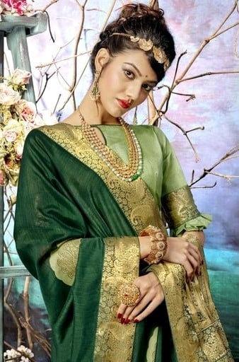 Wondrous Chanderi Silk Party Jacquard Saree - Green