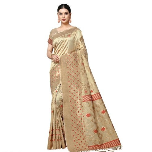 Fascinating Ikkat Weaved Banarasi Saree - Light Brown