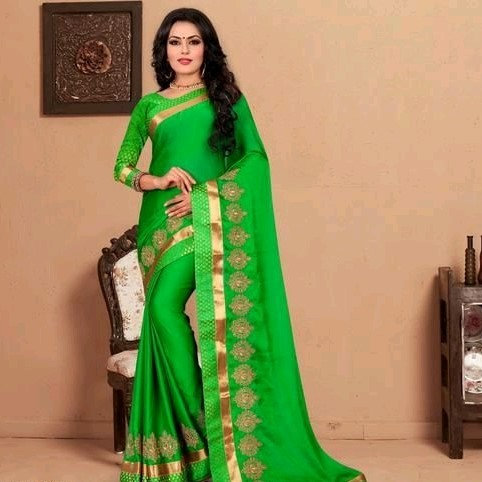Comely Silk Chiffon Embroidered Saree - Green