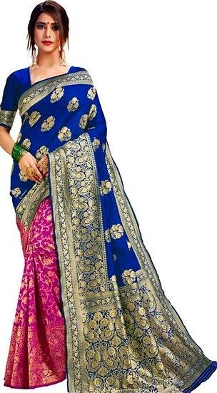 Fascinating  Banarasi Dual Color Pattern Silk Saree - Blue & Pink
